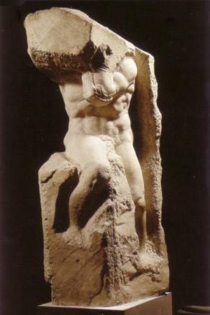 Michelangelo - Prigione detto l'Atlante (Firenze, Galleria dell'Accademia, 1520-32)